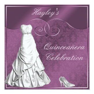 Glamorous White Ball Gown Purple Quinceanera Card
