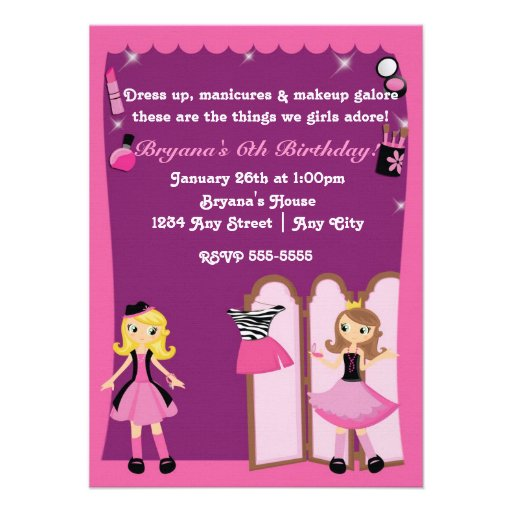 Glamour girls dress up Makeover Party Invitations Personalized Invite