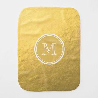 Glamour Gold Foil Background Monogram Burp Cloth