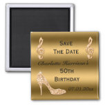 Glamourous 50th Save The Date Gold Stiletto Square Magnet