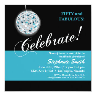 Glamourous Disco Ball 50th Birthday Party Card