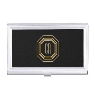 Glamourous Vintage Gold Art Deco Initials Monogram Business Card Holder