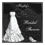 Glamourous White Gown Black Silver Bridal Shower 13 Cm X 13 Cm Square Invitation Card