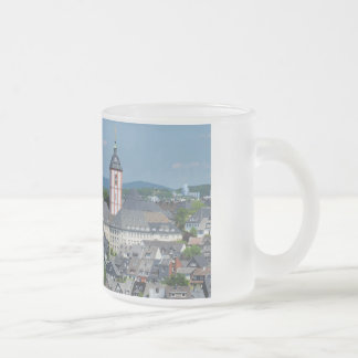 Glass cup with the city opinion of victories frosted glass mug