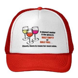 Glass Half Empty Wine Humor Cap
