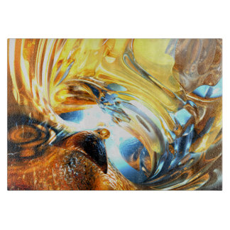 Glass Tidal Wave Abstract Cutting Board