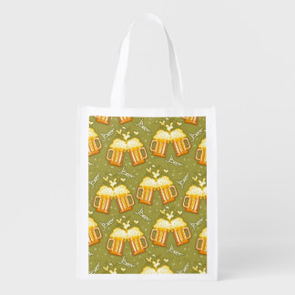 Glasses Of Beer Pattern Reusable Grocery Bag