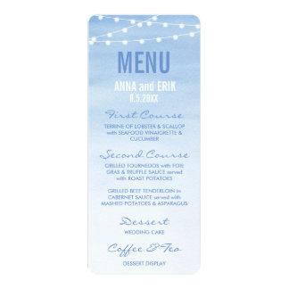Glaucous Blue Watercolor String Lights Menu Card