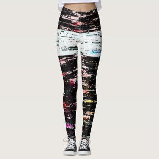 glitch abstract leggings