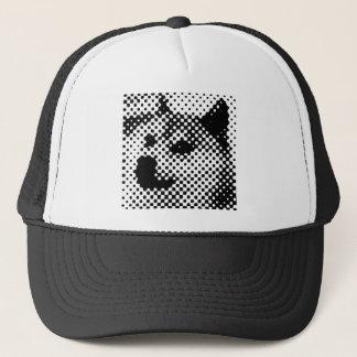 Glitched, pop art halftone design trucker hat