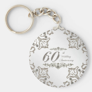 Glitter 60th Diamond Wedding Anniversary Key Chain