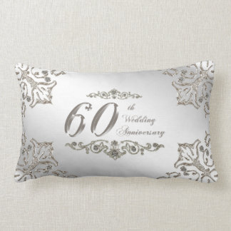 Glitter 60th Wedding Anniversary Lumbar Pillow