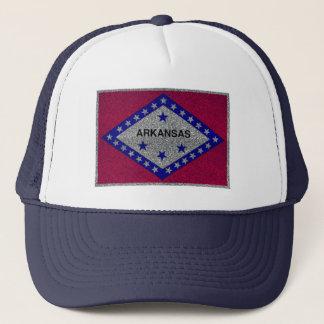 Glitter Arkansas flag trucker hat