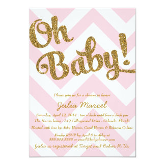 Glitter Baby Shower Invitation with Pink Chevron