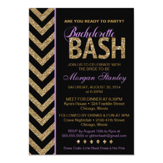 Glitter Bachelorette Bash Party Invitation PURPLE