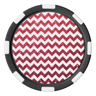 Glitter Chevron Red Poker Chips