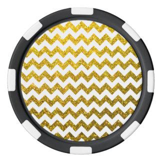 Glitter Chevron Yellow Gold Poker Chips