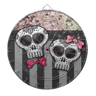 Glitter Day of The Dead Girly Skulls Pirate Stripe Dart Board