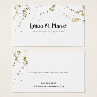 glitter . faux gold dots + handwritten name fem. business card