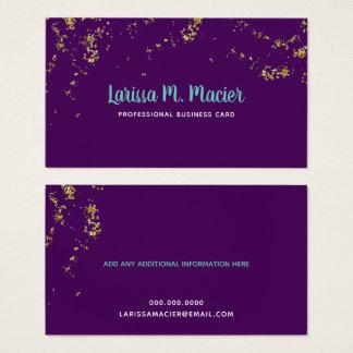 glitter . faux gold dots + handwritten name purple business card