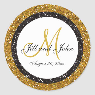 Glitter Gold Black Wedding Monogram Seals Sticker