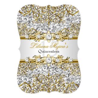 Glitter & Gold Damask Quinceanera Invite