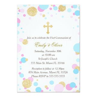 Glitter Gold Pink Blue Twins Communion Invitation
