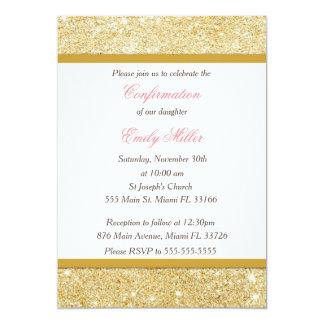 Glitter Gold Pink Girl Confirmation Invitation