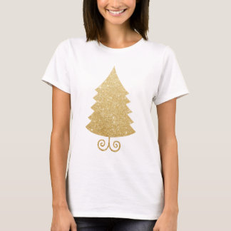 Glitter Golden Christmas Tree personalize pattern T-Shirt
