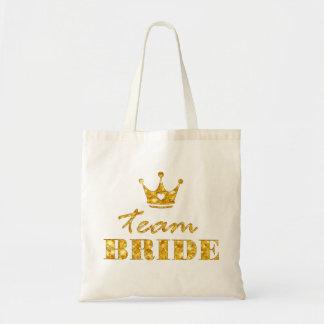 Glitter Golden Team Bride Tote Bag