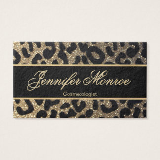 Glitter Leopard Black and Gold Business Card
