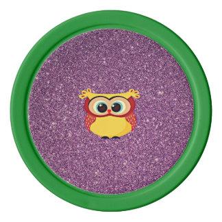 Glitter Owl Poker Chips