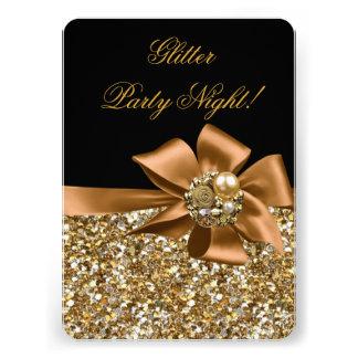 Glitter Party Night Gold Black Bronze Bow Jewel Invitation