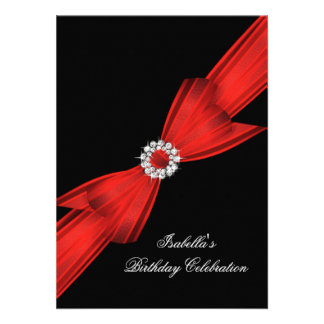 Glitter Red Diamond Bow Black Birthday Party 2 Personalized Announcements
