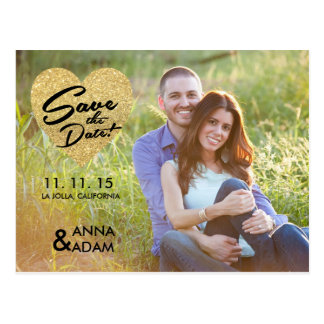 Glitter Save the Date Personalized Announcement Postcard