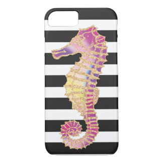 Glitter SeaHorse Stripe Design iPhone 7 Case