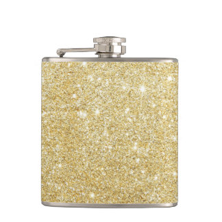 Glitter Shiny Luxury Golden Hip Flask