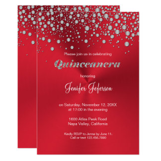 Glitter silver confetti Quinceanera Invitation