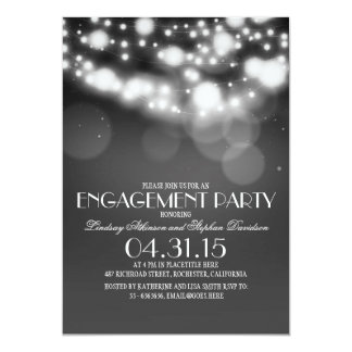 glitter string lights vintage engagement party card