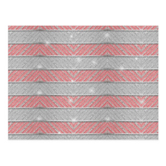 Glitter Striped Zig Zag Postcard
