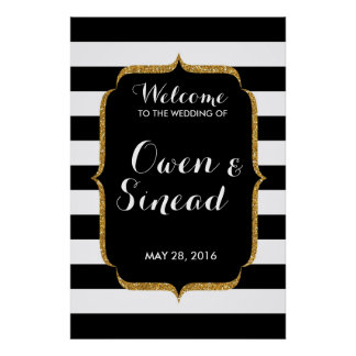 Glitter Wedding Sign on Black and White Stripes