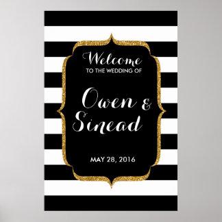 Glitter Wedding Sign on Black and White Stripes Poster