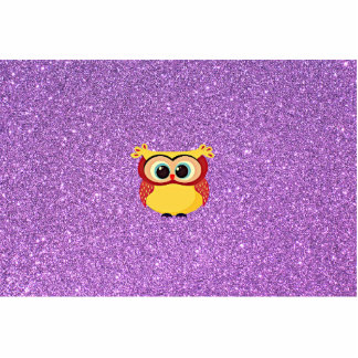 Glitter with Owl Standing Photo Sculpture