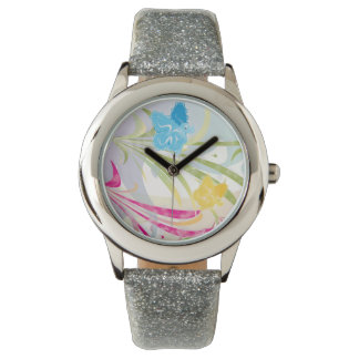 Glitter Wristwatch - Nature & Butterflies Design