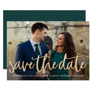 Glittering Gold Save the Date Photo Announcement