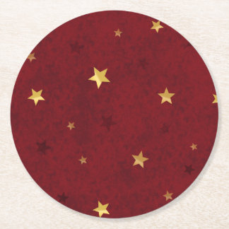 Glittering stars Royal Red Round Paper Coaster