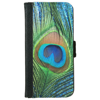 Glittery Blue Peacock iPhone 6 Wallet Case