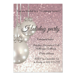 Glittery Christmas balls company holiday party Card