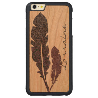 Glittery Feathers Carved Cherry iPhone 6 Plus Bumper Case