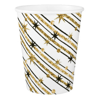 Glittery Gold Stars Paper Cup